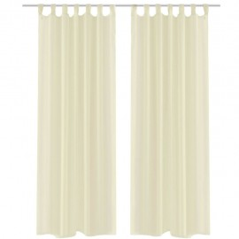 2 Cortinas color crema transparentes 140 x 225 cm