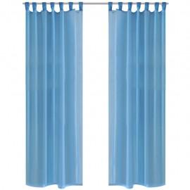 2 Cortinas turquesas transparentes 140 x 175 cm