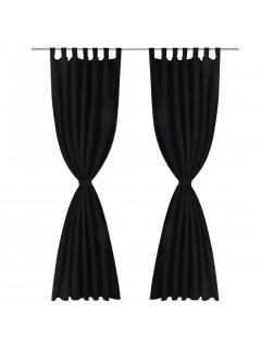 2 cortinas negras micro-satinadas con trabillas, 140 x 175 cm