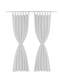 2 cortinas blancas micro-satinadas con trabillas, 140 x 225 cm