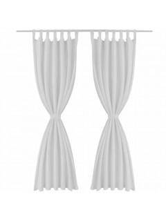 2 cortinas blancas micro-satinadas con trabillas, 140 x 245 cm