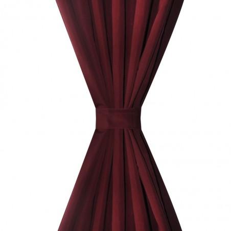 2 cortinas micro-satinadas con trabillas color burdeos, 140 x 175 cm