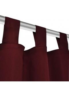 2 cortinas micro-satinadas con trabillas color burdeos, 140 x 245 cm