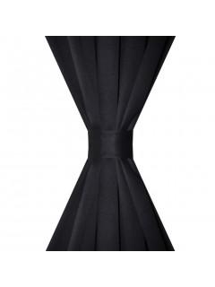 2 cortinas negras oscuras con jaretas, blackout 135 x 245 cm