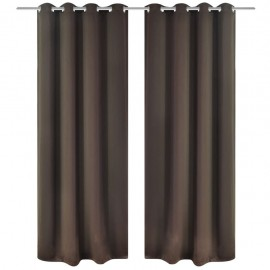2 cortinas marrones oscuras con anillas blackout 135x245cm