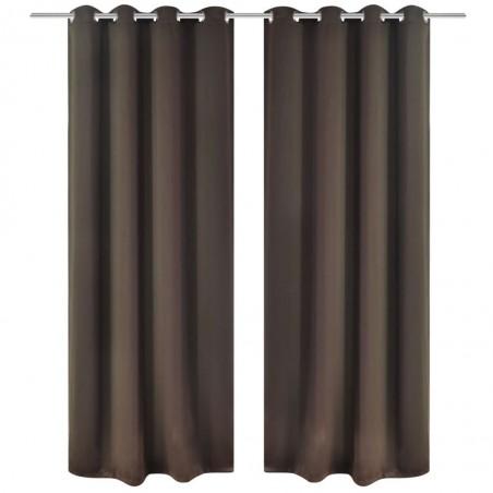 2 cortinas marrones oscuras con anillas blackout 135x245cm