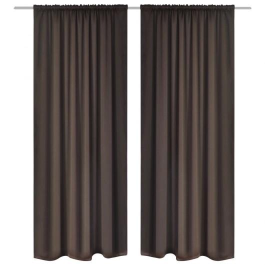 2 cortinas marrones oscuras con jaretas, blackout 135 x 245 cm