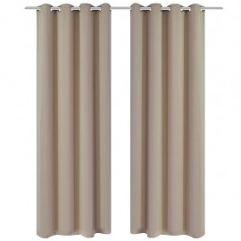 2 cortinas oscurecedoras con anillas blanco crema blackout 135x245cm