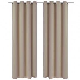 2 cortinas oscurecedoras con anillas blanco crema blackout 135x245cm