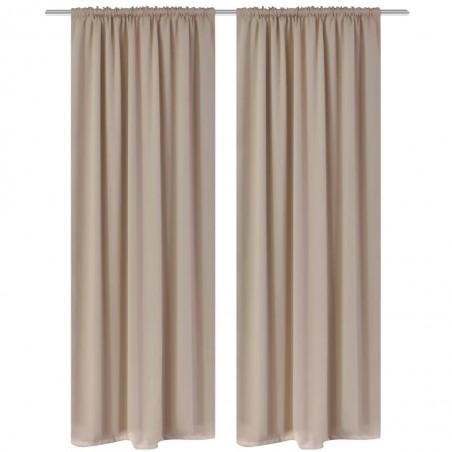 2 cortinas oscuras con jaretas blanco crema blackout 135 x 245 cm