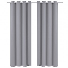 2 cortinas grises oscuras con anillas metálicas, blackout 135 x 245 cm
