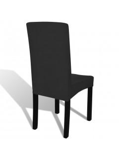 Funda elástica para sillas con respaldo, 6 piezas, Negro