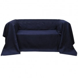 Funda color azúl marino para sofá de micro-gamuza, 140 x 210 cm