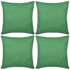 4 fundas verdes para cojines de algodón, 80 x 80 cm