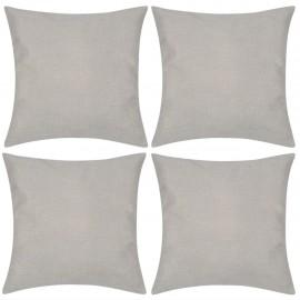 4 fundas beige para cojines de imitación de lino, 40 x 40 cm