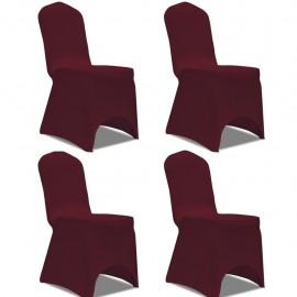 Funda para silla elástica 4 unidades burdeos