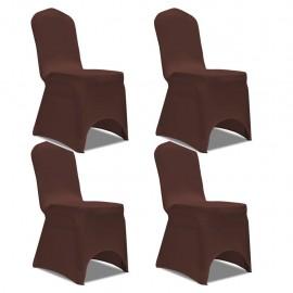 Funda de silla elástica 4 unidades marrón