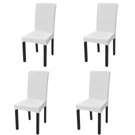 Funda de silla elástica recta 4 unidades blanca