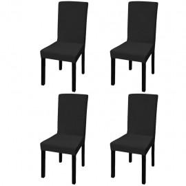Funda de silla elástica recta 4 unidades negra