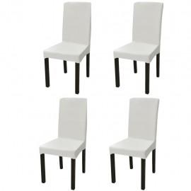 Funda de silla elástica recta 4 unidades crema