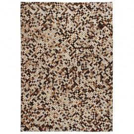 Alfombra de retazos de cuero 80x150 cm cuadrados marrón/blanco
