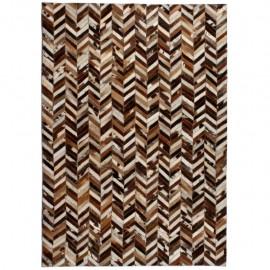 Alfombra de retazos de cuero 120x170 cm chevrón marrón/blanco