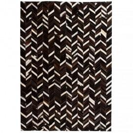 Alfombra de retazos de cuero 80x150 cm chevrón negro/blanco