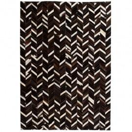 Alfombra de retazos de cuero 120x170 cm chevrón negro/blanco