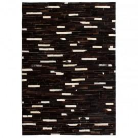 Alfombra de retazos de cuero 80x150 cm rayas negro/blanco