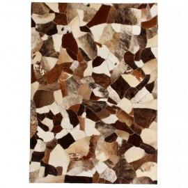 Alfombra de retazos de cuero 80x150 cm aleatorio marrón/blanco