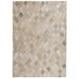 Alfombra de retazos de cuero 120x170 cm rombos gris