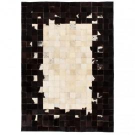Alfombra de retazos de cuero 80x150 cm cuadrados negro/blanco