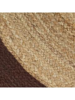 Alfombra de yute tejida a mano con borde marrón 150 cm