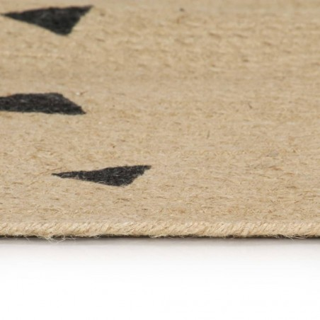Alfombra de yute tejida a mano estampado de triángulos 120 cm