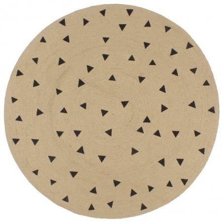 Alfombra de yute tejida a mano estampado de triángulos 150 cm