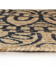 Alfombra de yute tejida a mano con estampado azul oscuro 120 cm
