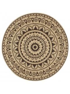 Alfombra de yute tejida a mano estampado marrón oscuro 150 cm
