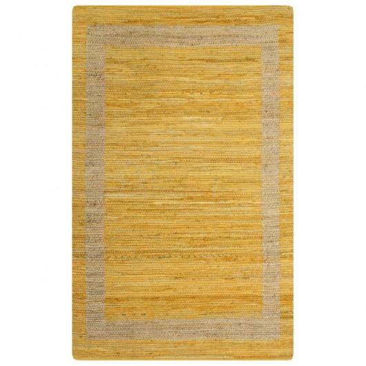 Alfombra hecha a mano de yute amarilla 80x160 cm