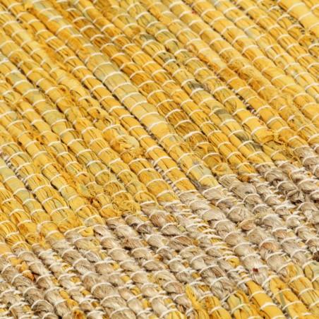 Alfombra hecha a mano de yute amarilla 160x230 cm