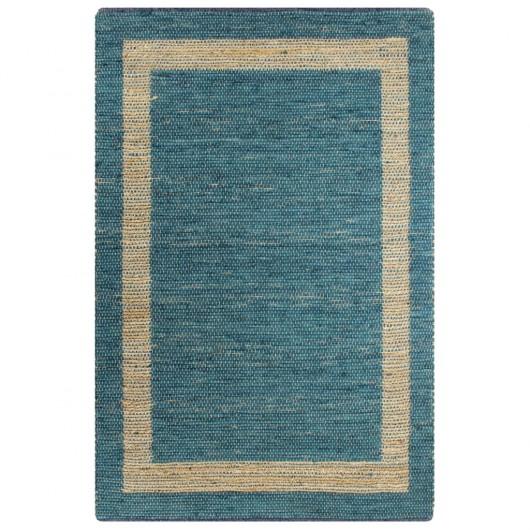 Alfombra hecha a mano de yute azul 160x230 cm