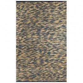 Alfombra hecha a mano de yute azul y natural 160x230 cm
