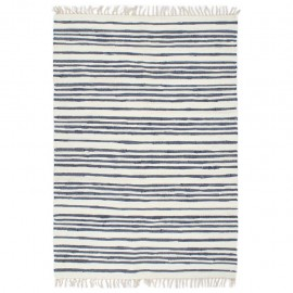 Alfombra tejida a mano Chindi algodón 200x290 cm azul y blanco