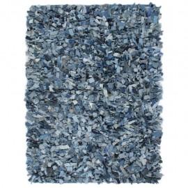 Alfombra peluda de tela vaquera 190x280 cm azul