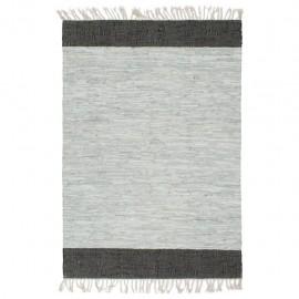 Alfombra chindi tejida a mano cuero 190x280 cm gris claro/negro