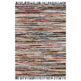 Alfombra chindi tejida a mano cuero 190x280 cm multicolor