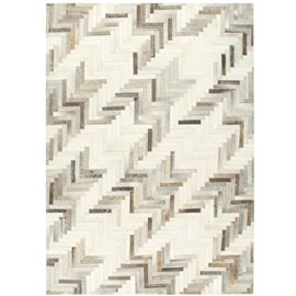 Alfombra de almazuela de cuero peludo gris/blanco 120x170 cm