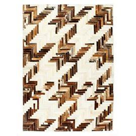 Alfombra de almazuela de cuero peludo marrón/blanco 80x150 cm