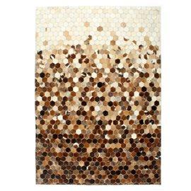Alfombra de almazuela de cuero peludo marrón/blanco 160x230 cm