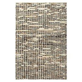 Alfombra de cuero genuino peludo negro/blanco 160x230 cm