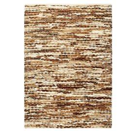 Alfombra de cuero genuino peludo marrón/blanco 120x170 cm